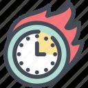 alarm, clock, deadline, efficiency, flame, productivity, time management icon
