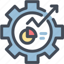 analytics, gear, options, pie chart, report, sales, settings
