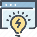 browser, business idea, idea, launch, light bulb, project, startup icon