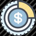 analytics, coin, dollar, money, pie chart, sales report, statistics icon