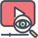 content management, film, magnifying glass, movie, play, research, video search icon