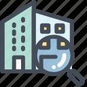 apartment, building, city, condo, property, search icon