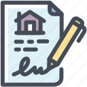 contact, house, mortgage, sign, signature icon
