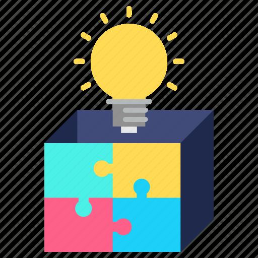 box, idea, marketing, product, puzzle, solution icon