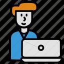 help, laptop, man, office, support, work, working icon