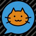 bubble, cat, chat, social, speech icon