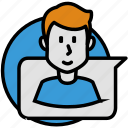 bubble, chat, help, man, social, speech, support icon
