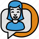 bubble, chat, social, speech, support, talk, woman icon