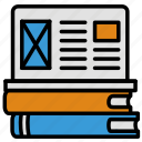 books, design, laptop, research, stack, ux, webdesign icon