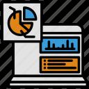 analytics, anaylsis, chart, data, laptop, pie chart, statistics icon