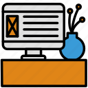computer, display, monitor, pc, plant, ux, webdesign icon