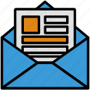 direct mail, letter, mail, newsletter, text box, writing icon
