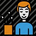 employee, happy, man, office, plant, work, worker icon