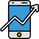 arrow, data, display, grow, growth, phone, upgrade icon