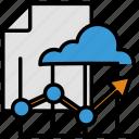 analytics, arrow, cloud, data, document, statistics, upgrade icon