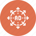 ad, advertisement, arrow, expand, marketing, promotion, target