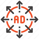 ad, advertisement, arrow, expand, marketing, promotion, target icon