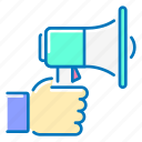 advertising, hand, marketing, shout icon