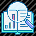 book, case, diagram, graph, magnifier, marketing, study icon
