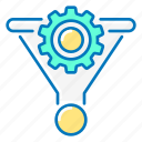 coin, conversion, funnel, gear, marketing