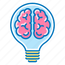 brain, bulb, creative, idea, light, marketing icon
