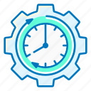 clock, deadline, gear, marketing, time icon