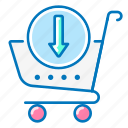 arrow, cart, download, ecommerce, marketing, shopping, trolley icon
