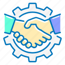 gear, handshake, marketing, partners icon