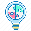 bulb, light, marketing, puzzle, solution