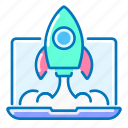laptop, marketing, off, rocket, start, startup, take icon