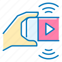 hand, marketing, phone, video icon