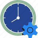 business, clock, gear, management, organization, schedule, time icon