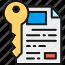 certificate, document, key, marketing, safe, seo, website icon