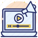 online marketing, video campaign, video marketing, video promotion, video streaming icon