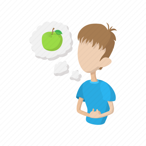 background, cartoon, character, feel, food, hungry, man icon