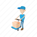 background, box, cart, cartoon, courier, delivery, man icon