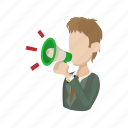 announcement, background, cartoon, man, megaphone, speaker icon