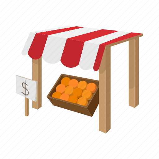 background, cartoon, fruit, market, stall, store, tent icon