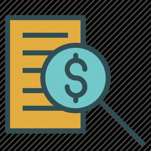 dollar, file, paper, search icon
