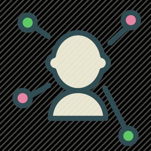 brainstorm, ideas, men, network, people icon