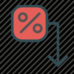arrow, decrease, down, percent icon