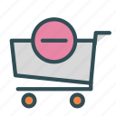 cart, minus, remove, shop, store, trolly icon