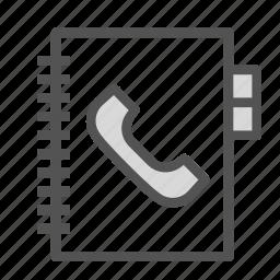 agenda, book, phone icon