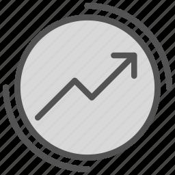 arrow, circle, increase, report, round icon