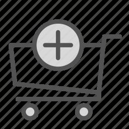 add, cart, plus, shop, store, trolly icon