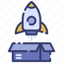 advertising, boost, business, launching, marketing, promotion, rocket icon