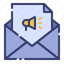 advertising, business, letter, mailing, marketing, message, promotion icon