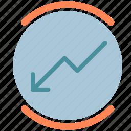 arrow, circle, decrease, report, round icon