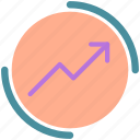 arrow, circle, increase, report, round icon