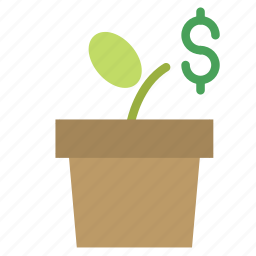 dollar, flower, money, plant, pot icon